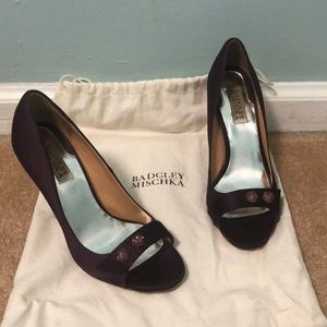Badgley Mischka Plum Peep Toe Heels